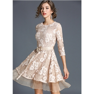 Round Neck 3/4 Sleeve A-line Lace Dress with Belt