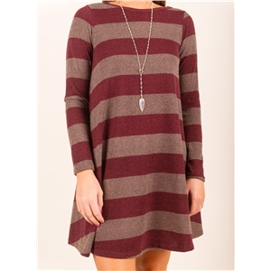 Round Neck Long Sleeve Striped Printed Pullover Dress