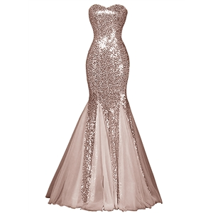 Womens Glamour Sweetheart Sequin Mermaid Long Mermaid Prom Dress