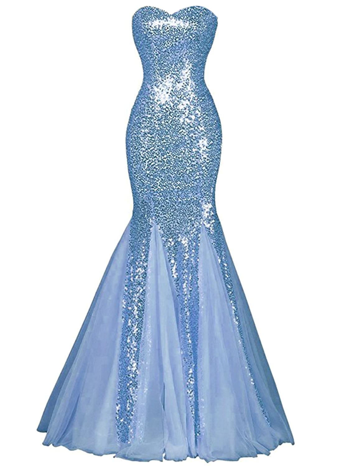 Womens Glamour Sweetheart Sequin Mermaid Long Mermaid Prom Dress ...