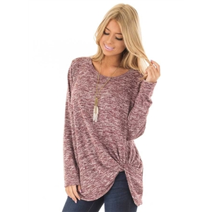 Round Neck Long Sleeve Loose Fit Knot Hem Tee Shirt
