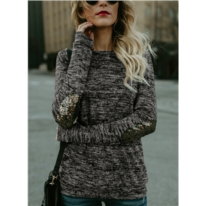 Round Neck Long Sleeve Sequin Knit Tee Shirt