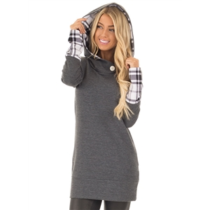 Long Sleeve Plaid Panel One Button Pullover Hoodie