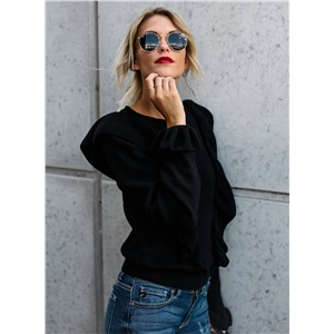 Fashion Ruffle Loose Fit Pullover Sweater