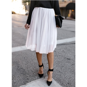 Solid Color High Waist Ruffle Mesh Skirt
