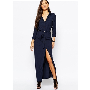 Turn Down Collar Long Sleeve Solid Color Button Down Maxi Dress with Belt