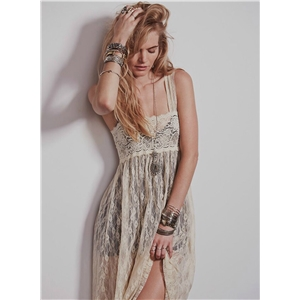 Spaghetti Strap Sleeveless Solid Color Lace Maxi Dress