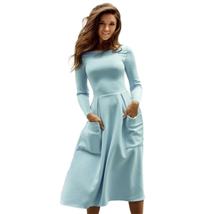 Plus Size Round Neck Long Sleeve Solid Color Dress