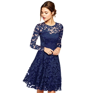 Round Neck Long Sleeve A-line Lace Dress