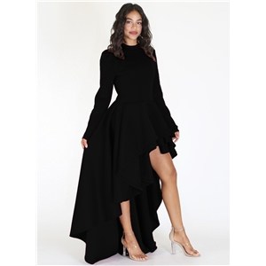 Solid Color Long Sleeve Mock Neck High Low Maxi Dress
