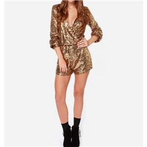 Golden V Neck Sequin Romper Short Jumpsuit