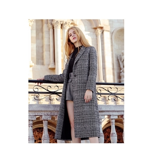 Plaid Warm Overcoat Ladies Long Loose