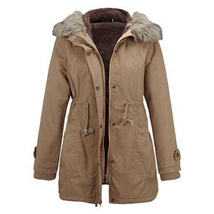 Fashion Parka Coat with Faux Fur Trim Hood