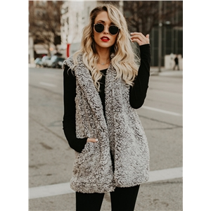 Hooded Sleeveless Solid Color Lamb Wool Vest