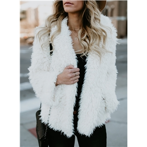 Fashion Faux Fur Open front Hooded Coat
