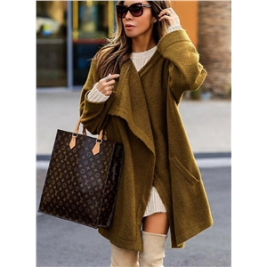 Long Sleeve Solid Color Asymmetric Open Front Cardigan