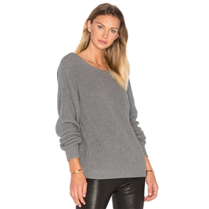 Round Neck Long Sleeve Backless Knit Pullover Sweater
