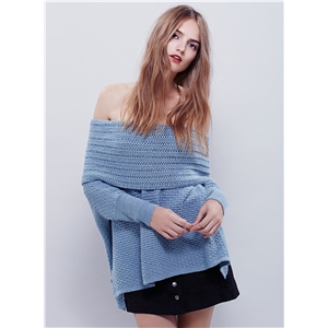 Off Shoulder Long Sleeve Loose Fit High Low Sweater