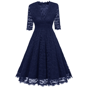 V Neck 3/4 Sleeve Lace A-line Dress