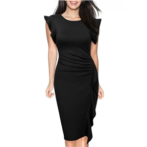 Sleeveless Ruffle Trim Bodycon Party Dress