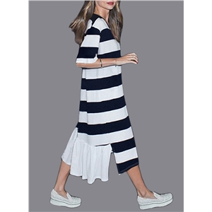 Fashion Short Sleeve Striped Irregular Maxi Dress