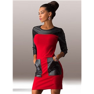 Round Neck PU Leather Splicing Bodycon Dress