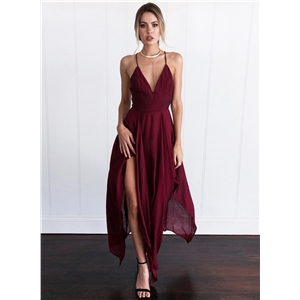 Spaghetti Strap Sleeveless Asymmetric Maxi Dress