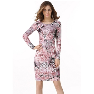 Round Neck Long Sleeve Floral Printed Slim Fit Dress