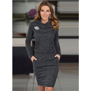 Fashion Long Sleeve Bodycon Dress with Corsage