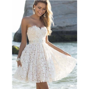 Strapless Lace A-line Cocktail Dress
