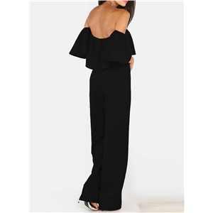 Fashion Off Shoulder Short Sleeve Ruffle Solid Jumpsuit