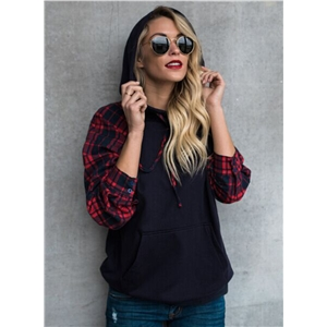 Fashion Plaid Long Sleeve Pullover Hoodie