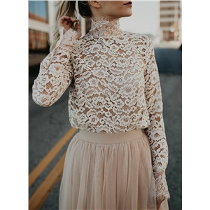 Fashion High Neck Floral Lace Blouse