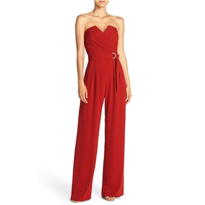Off Shoulder Sleeveless Solid Color Collect Waist Jumpsuit