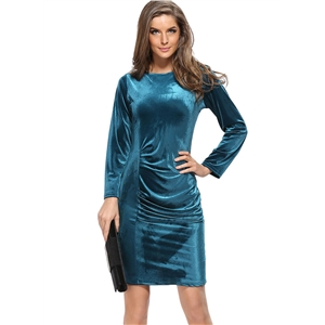 Fashion Long Sleeve Pleuche Bodycon Dress