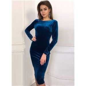 Fashion Long Sleeve Bodycon Velvet Party Dress