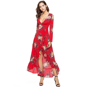 Deep V Neck Long Sleeve Floral Printed Dress