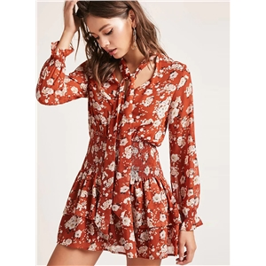 Floral Printed Long Sleeve Chiffon Collect Waist Dress