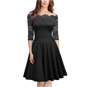 Slash Neck Half Sleeve Lace A-line Dress