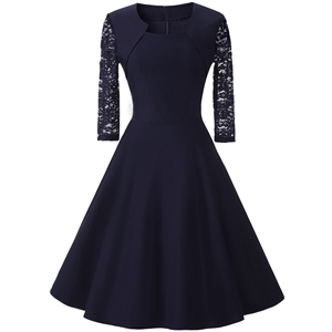 Square Neck Three Quarter Length Sleeve Lace Dress
