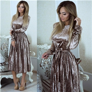 Round Neck Long Sleeve Solid Color Dress with Belt