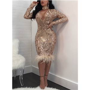 Choker V Neck Long Sleeve Sequin Bodycon Dress
