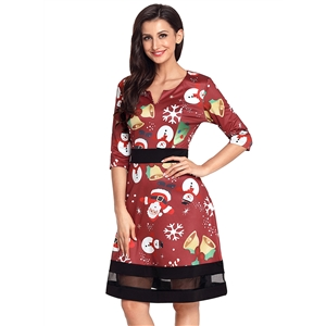 Christmas Cartoon Print Wine A-line Dress
