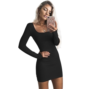 Fashion Long Sleeve Solid Bodycon Club Dress