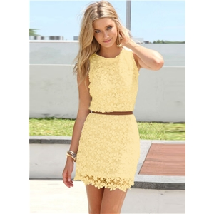 Fashion Sleeveless Lace Slim Fit Party Dress