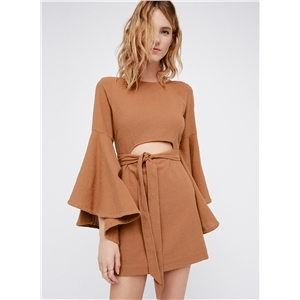 Fashion Flare Sleeve Cut out Mini Dress