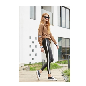New Faux Leather White Striped Skinny Women Pants