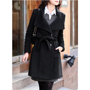 Stand Collar Long Sleeve Solid Color Slim Fit Coat