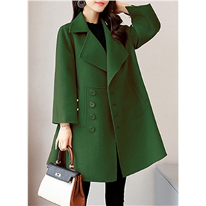 Turn Down Collar Long Sleeve Solid Color Single Breasted Wool Coat