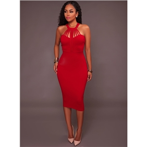 Halter Neck Sleeveless Slim Fit Dress